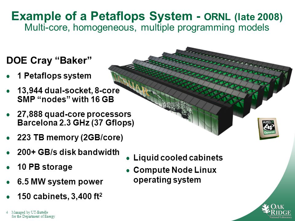 4Managed by UT-Battelle for the Department of Energy Example of a Petaflops System - ORNL (late 2008) Multi-core, homogeneous, multiple programming models DOE Cray Baker 1 Petaflops system 13,944 dual-socket, 8-core SMP nodes with 16 GB 27,888 quad-core processors Barcelona 2.3 GHz (37 Gflops) 223 TB memory (2GB/core) 200+ GB/s disk bandwidth 10 PB storage 6.5 MW system power 150 cabinets, 3,400 ft 2 Liquid cooled cabinets Compute Node Linux operating system