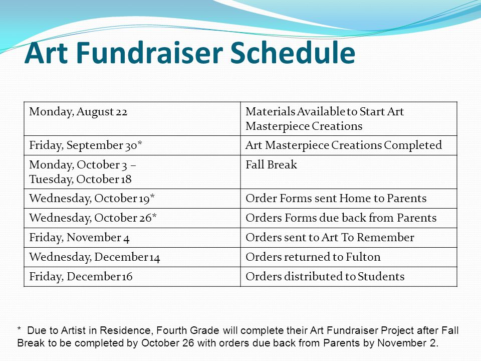Art Fundraiser Schedule Monday, August 22Materials Available to Start Art Masterpiece Creations Friday, September 30*Art Masterpiece Creations Completed Monday, October 3 – Tuesday, October 18 Fall Break Wednesday, October 19*Order Forms sent Home to Parents Wednesday, October 26*Orders Forms due back from Parents Friday, November 4Orders sent to Art To Remember Wednesday, December 14Orders returned to Fulton Friday, December 16Orders distributed to Students * Due to Artist in Residence, Fourth Grade will complete their Art Fundraiser Project after Fall Break to be completed by October 26 with orders due back from Parents by November 2.