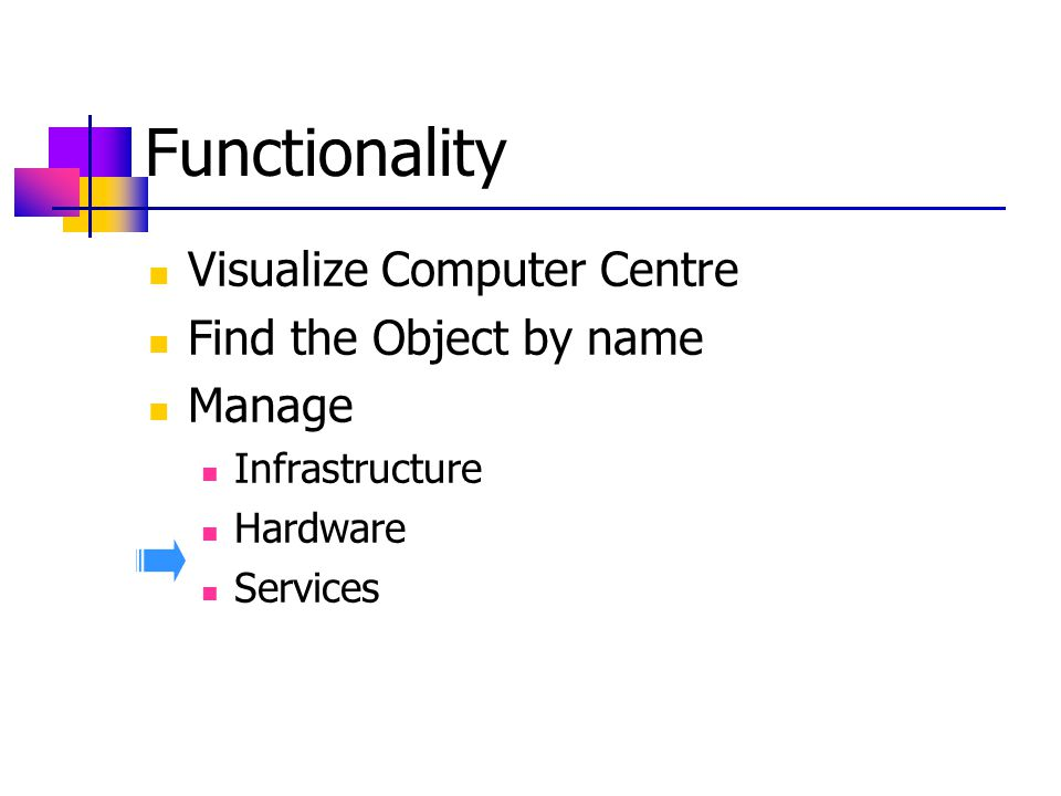 Functionality Visualize Computer Centre Find the Object by name Manage Infrastructure Hardware Services