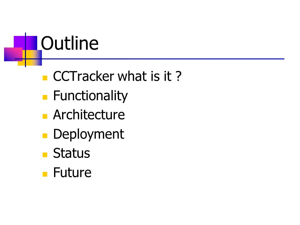 Status CCTracker v1.0/v1.1/v1.2 (08/03/2005) Visualize Computer Centre Find Object CCTracker v1.3 (12/08/2005) Code restructuring Navigation by tabbed Hierarchical view & graphical view Tabular view of nodes for selected Rack URL http://leaf.web.cern.ch/leaf/doc/relnotes/release_notes.htm