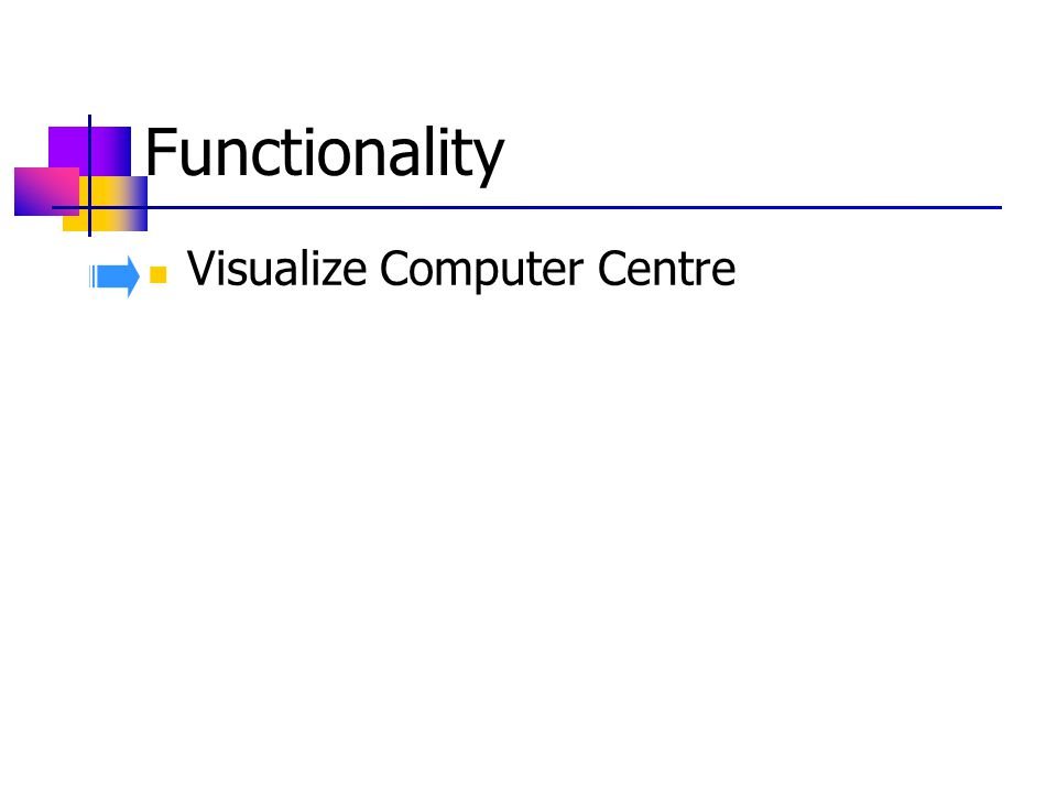 Functionality Visualize Computer Centre Find the Object by name Manage Infrastructure