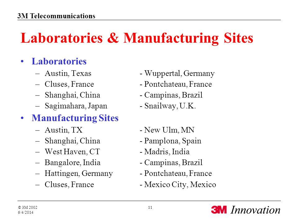 3M Telecommunications © 3M 2002 6/4/2014 11 Laboratories & Manufacturing Sites Laboratories –Austin, Texas - Wuppertal, Germany –Cluses, France- Pontc