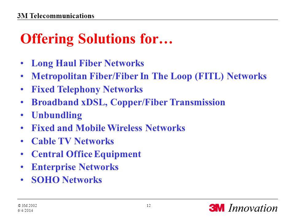 3M Telecommunications © 3M 2002 6/4/2014 12 Offering Solutions for… Long Haul Fiber Networks Metropolitan Fiber/Fiber In The Loop (FITL) Networks Fixe
