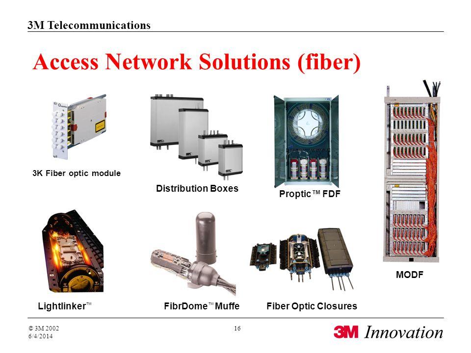 3M Telecommunications © 3M 2002 6/4/2014 16 MODF Access Network Solutions (fiber) Lightlinker FibrDome MuffeFiber Optic Closures 3K Fiber optic module Distribution Boxes Proptic FDF
