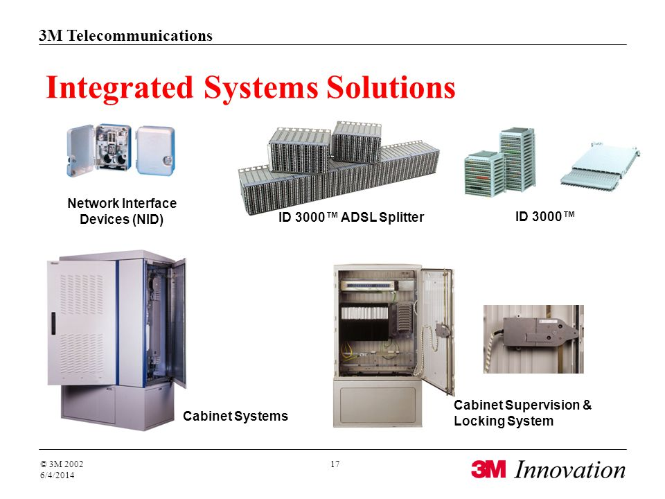 3M Telecommunications © 3M 2002 6/4/2014 17 Integrated Systems Solutions ID 3000 Cabinet Supervision & Locking System Network Interface Devices (NID)