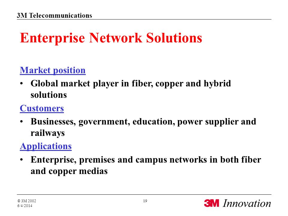 3M Telecommunications © 3M 2002 6/4/2014 19 Enterprise Network Solutions Market position Global market player in fiber, copper and hybrid solutions Cu