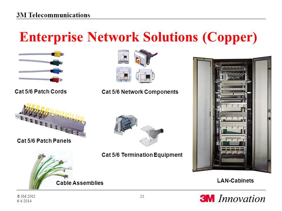 3M Telecommunications © 3M 2002 6/4/2014 21 Cable Assemblies Cat 5/6 Termination Equipment Cat 5/6 Patch Cords LAN-Cabinets Enterprise Network Solutions (Copper) Cat 5/6 Patch Panels Cat 5/6 Network Components