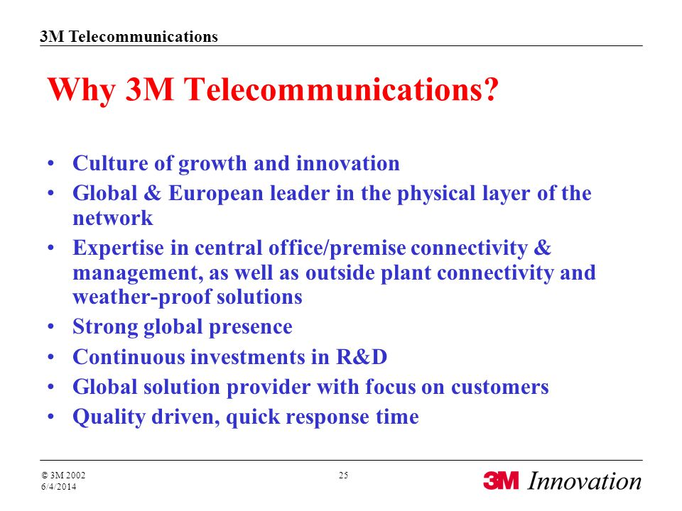 3M Telecommunications © 3M 2002 6/4/2014 25 Why 3M Telecommunications.