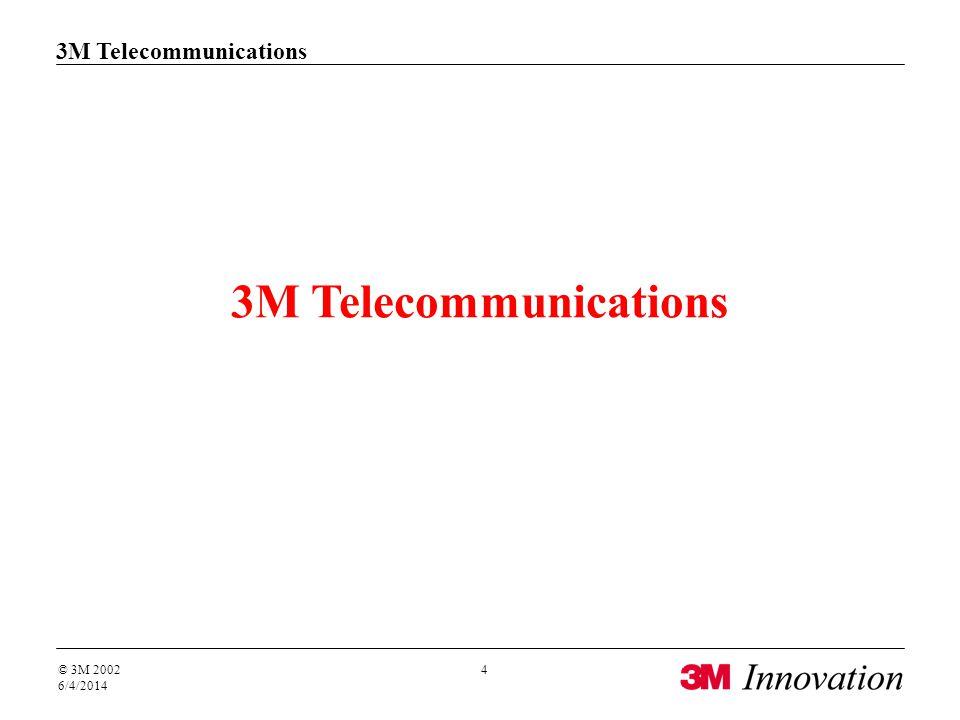 3M Telecommunications © 3M 2002 6/4/2014 4 3M Telecommunications