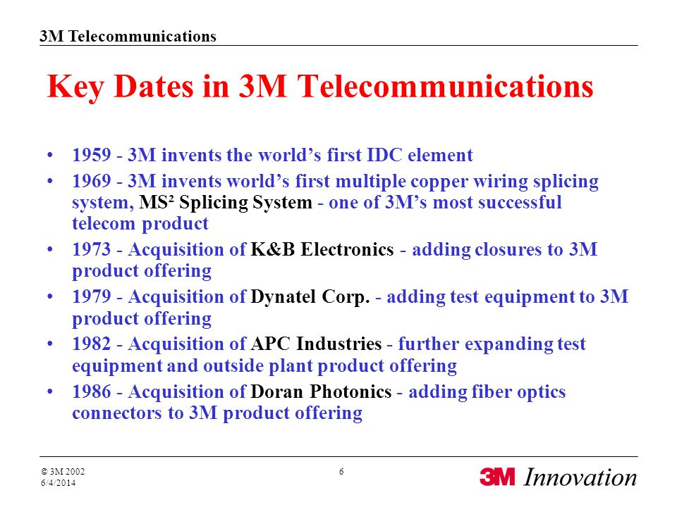 3M Telecommunications © 3M 2002 6/4/2014 6 Key Dates in 3M Telecommunications 1959 - 3M invents the worlds first IDC element 1969 - 3M invents worlds first multiple copper wiring splicing system, MS² Splicing System - one of 3Ms most successful telecom product 1973 - Acquisition of K&B Electronics - adding closures to 3M product offering 1979 - Acquisition of Dynatel Corp.