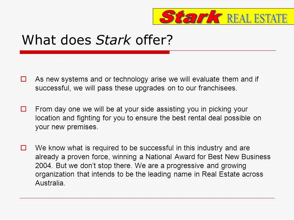 What does Stark offer.