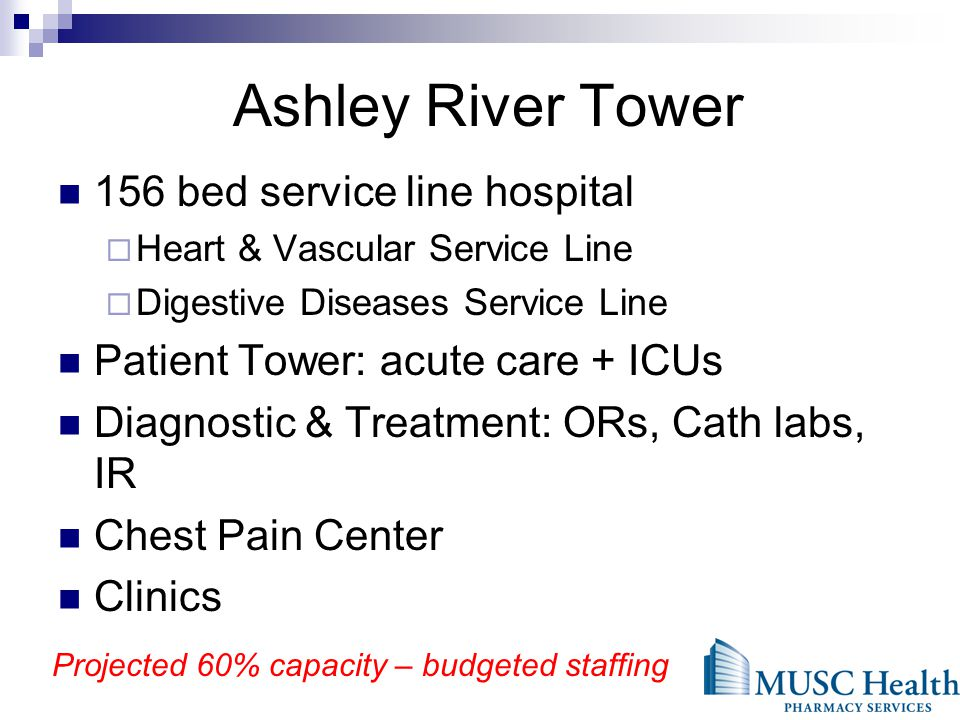 156 bed service line hospital Heart & Vascular Service Line Digestive Diseases Service Line Patient Tower: acute care + ICUs Diagnostic & Treatment: ORs, Cath labs, IR Chest Pain Center Clinics Projected 60% capacity – budgeted staffing