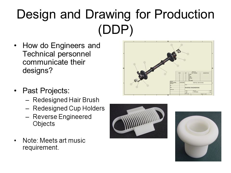 Design and Drawing for Production (DDP) How do Engineers and Technical personnel communicate their designs.