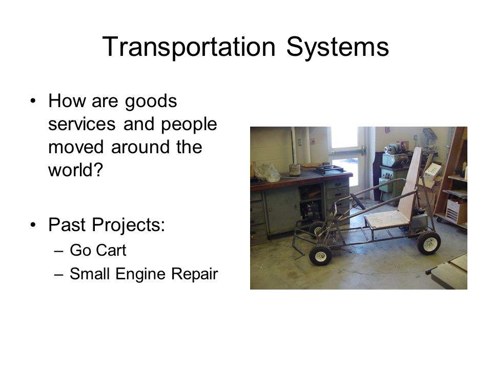 Transportation Systems How are goods services and people moved around the world.