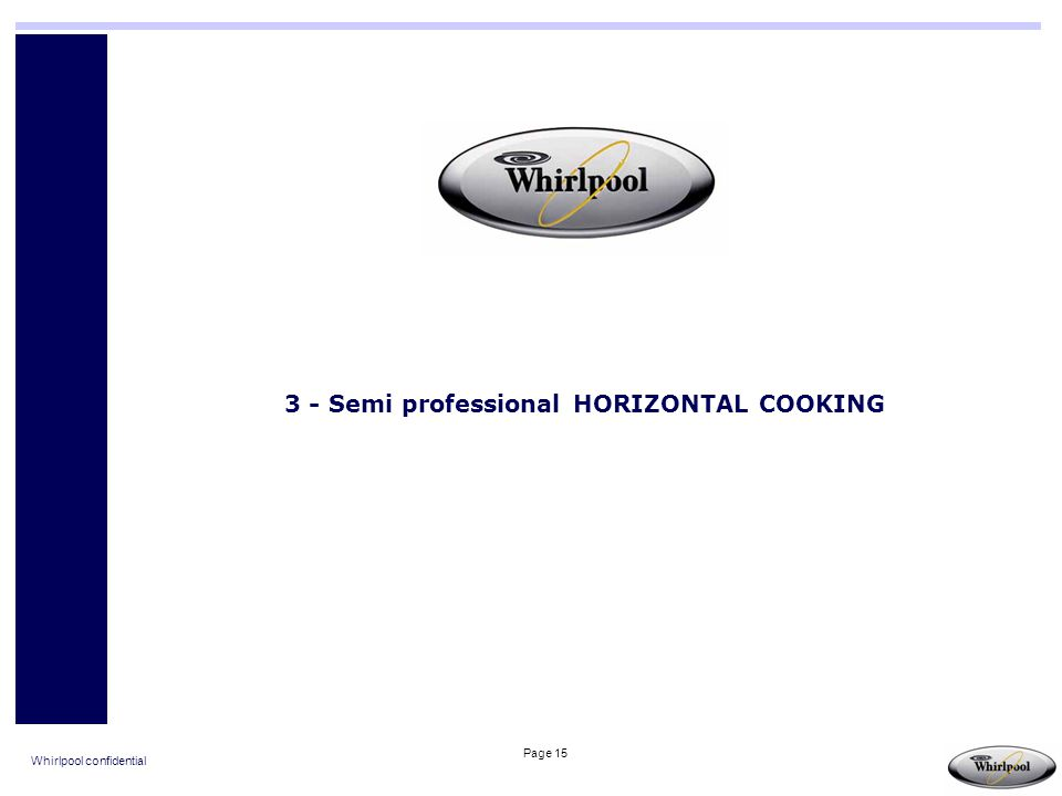 Whirlpool confidential Page 15 3 - Semi professional HORIZONTAL COOKING