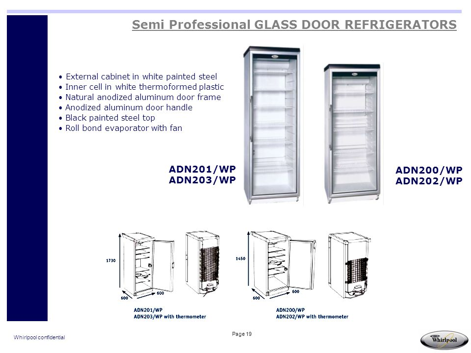 Whirlpool confidential Page 19 Semi Professional GLASS DOOR REFRIGERATORS ADN201/WP ADN203/WP ADN200/WP ADN202/WP External cabinet in white painted st