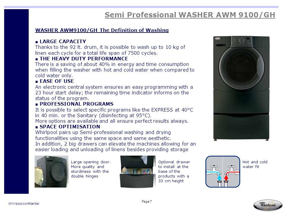 Whirlpool confidential Page 18 Semi Professional GLASS DOOR REFRIGERATORS ADN201/WP ADN203/WP ADN200/WP ADN202/WP