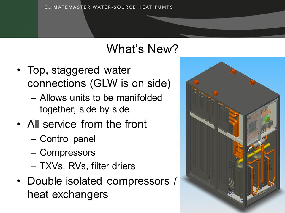 Whats New? Top, staggered water connections (GLW is on side) –Allows units to be manifolded together, side by side All service from the front –Control