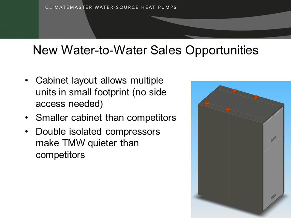 New Water-to-Water Sales Opportunities Cabinet layout allows multiple units in small footprint (no side access needed) Smaller cabinet than competitor