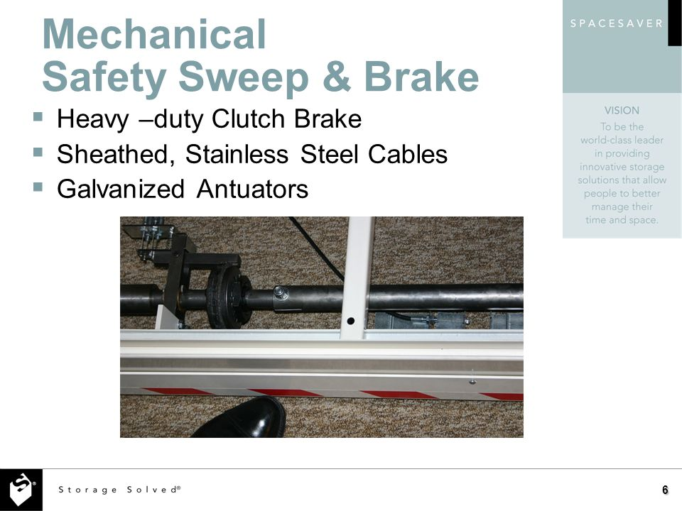 6 Mechanical Safety Sweep & Brake Heavy –duty Clutch Brake Sheathed, Stainless Steel Cables Galvanized Antuators