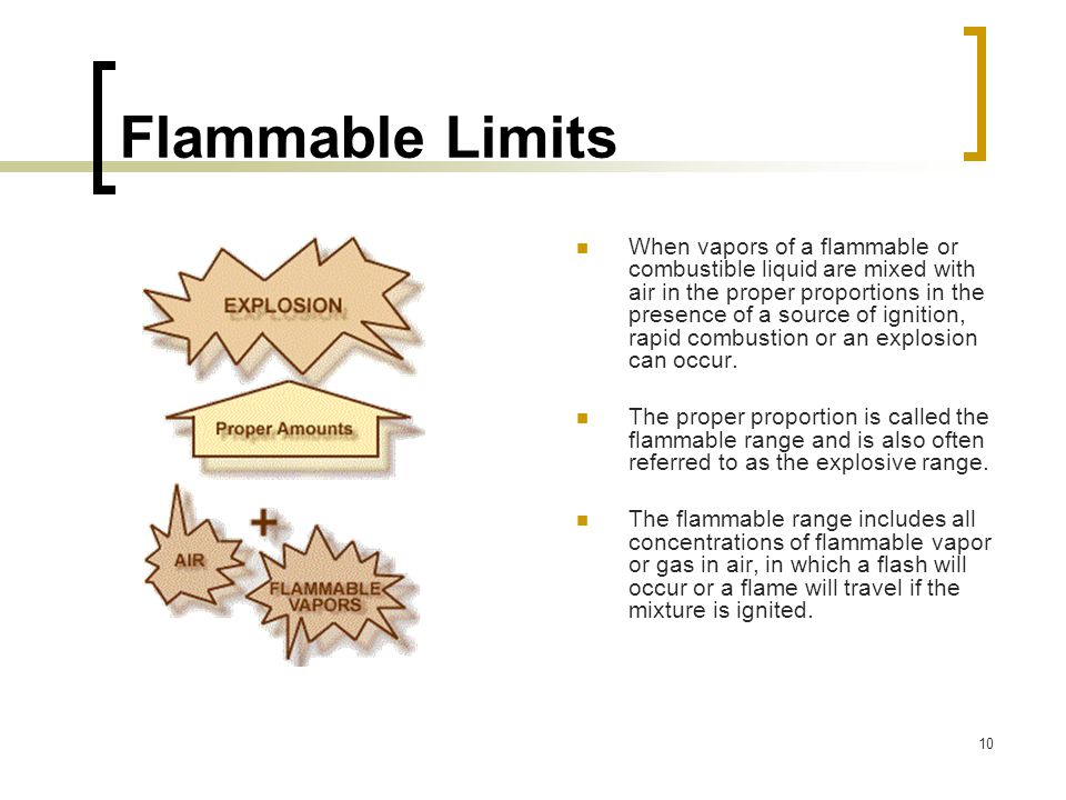 10 Flammable Limits When vapors of a flammable or combustible liquid are mixed with air in the proper proportions in the presence of a source of ignit