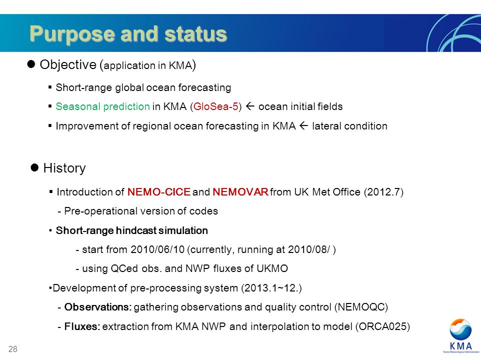 28 Short-range global ocean forecasting Seasonal prediction in KMA (GloSea-5) ocean initial fields Improvement of regional ocean forecasting in KMA la