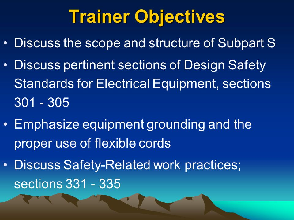 1910.331 Scope Covers: –Qualified persons (those who have training in avoiding the electrical hazards –Unqualified persons (those with little or no such training) Working on or near the following: –Premises wiring –Wiring for connection to supply –Other wiring