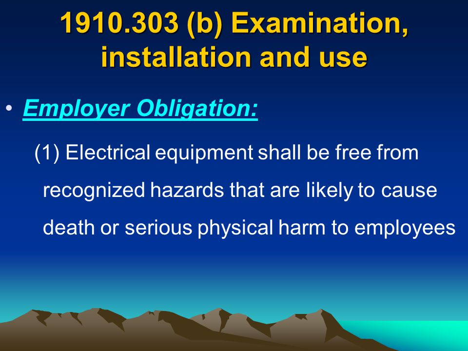 1910.335 Safeguards for personnel protection Protective equipment shall be maintained in a safe, reliable condition and shall be periodically inspected or tested, as required by 1910.137