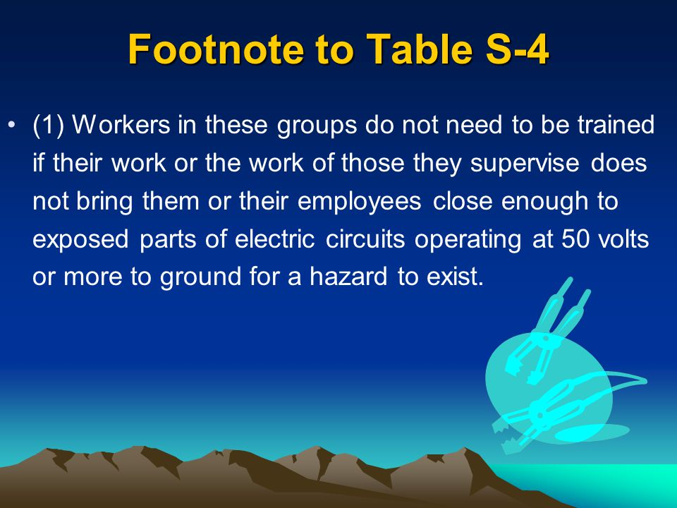 Footnote to Table S-4 (1) Workers in these groups do not need to be trained if their work or the work of those they supervise does not bring them or t