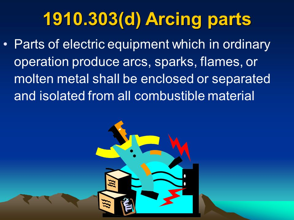 (2)(i) Live parts of electric equipment operating at 50 volts or more guarded against accidental contact by approved cabinets 1910.303(g) Guarding of live parts