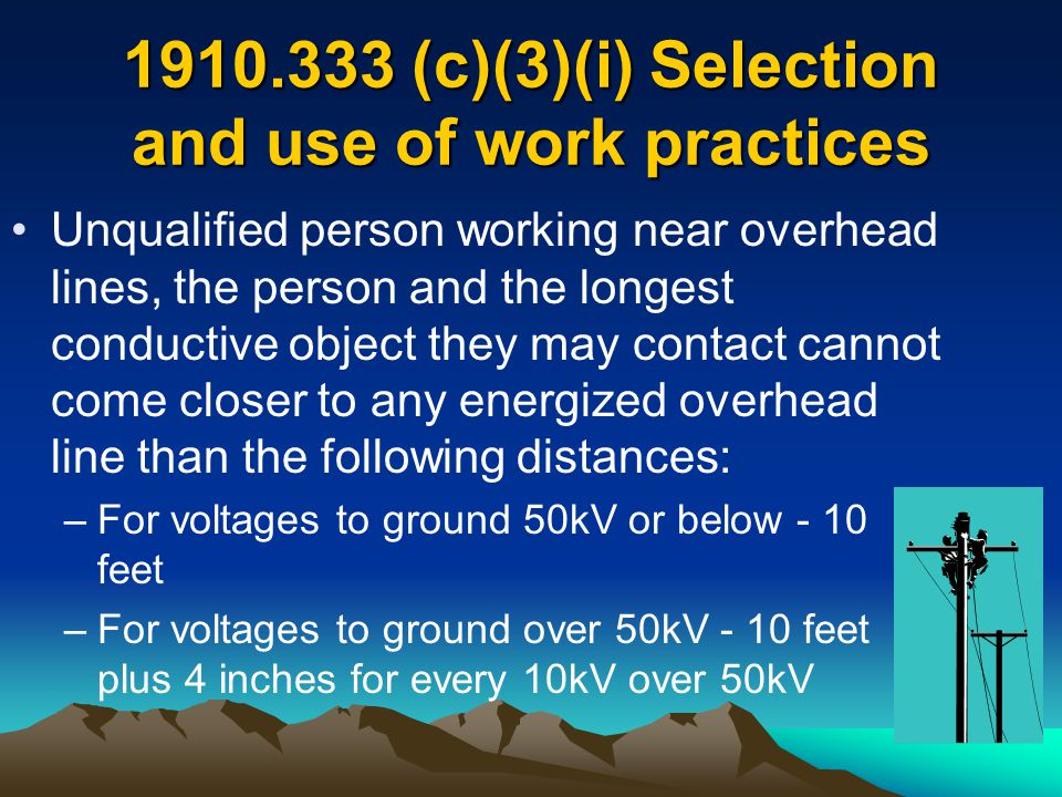 1910.333 (c)(3)(i) Selection and use of work practices Unqualified person working near overhead lines, the person and the longest conductive object th