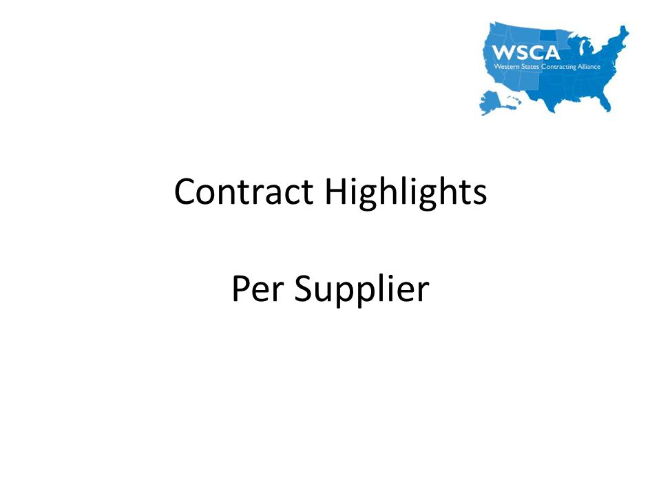 Contract Highlights Per Supplier