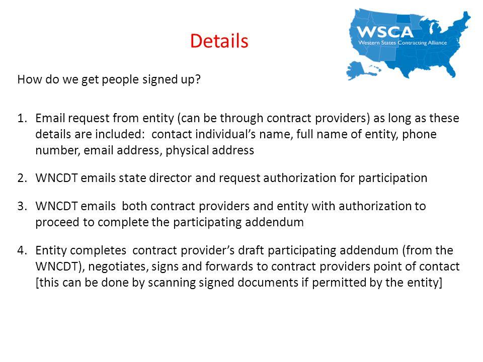 Details How do we get people signed up.