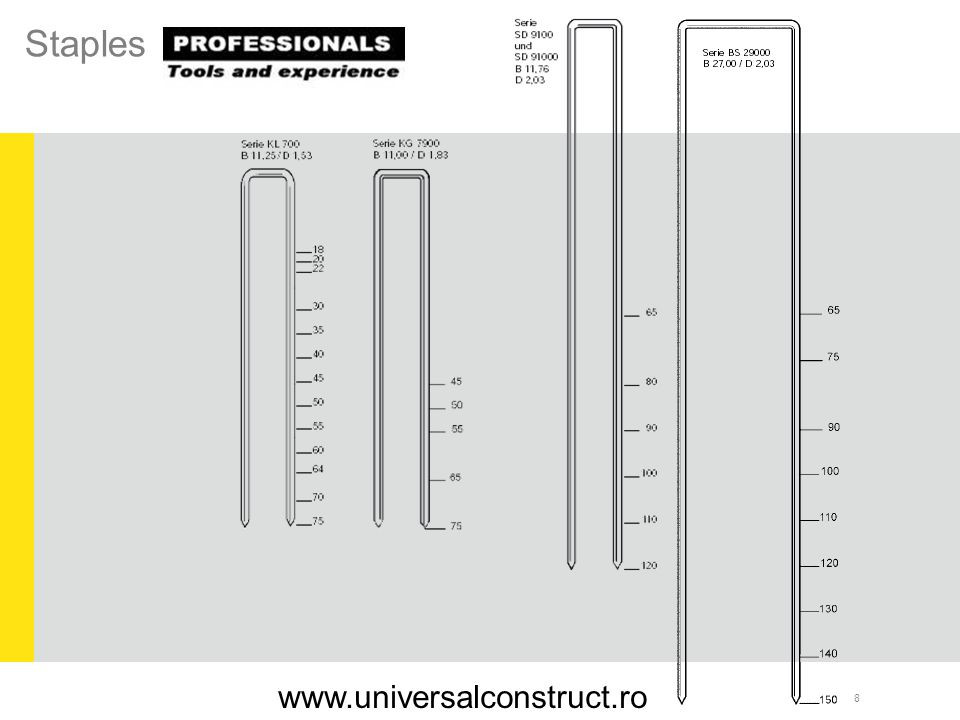 29 Applications: Nailing window strips, profiles, ornaments, decorative moldings, door jamb lining, shoe repairs, cabinets SKN 64 A / 16 Serie SKN 16/00 SKN 50 L /16 Serie SKN 16/00 www.universalconstruct.ro