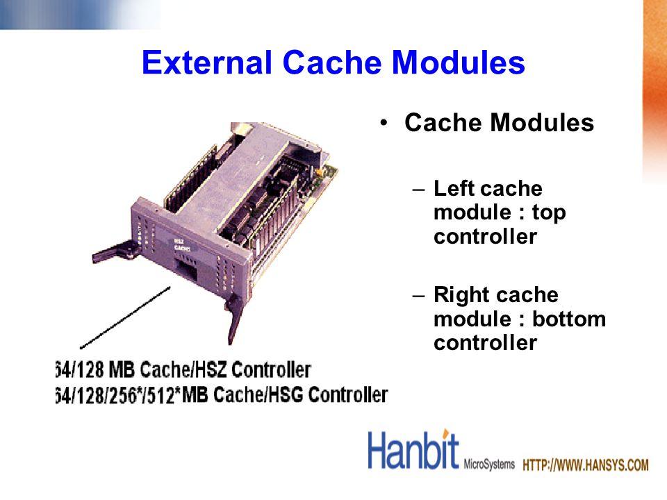 Cache Modules –Left cache module : top controller –Right cache module : bottom controller External Cache Modules
