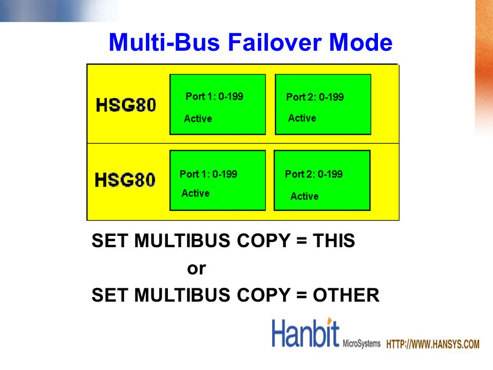 Multi-Bus Failover Mode SET MULTIBUS COPY = THIS or SET MULTIBUS COPY = OTHER