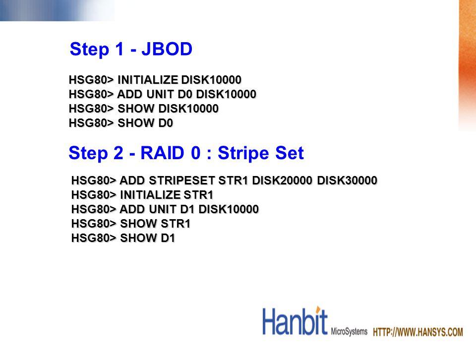 HSG80> INITIALIZE DISK10000 HSG80> ADD UNIT D0 DISK10000 HSG80> SHOW DISK10000 HSG80> SHOW D0 Step 1 - JBOD Step 2 - RAID 0 : Stripe Set HSG80> ADD STRIPESET STR1 DISK20000 DISK30000 HSG80> INITIALIZE STR1 HSG80> ADD UNIT D1 DISK10000 HSG80> SHOW STR1 HSG80> SHOW D1