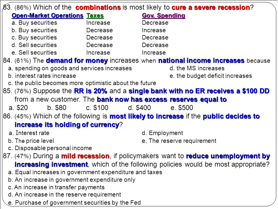 combinationscure a severe recession 83. (86%) Which of the combinations is most likely to cure a severe recession? Open-Market OperationsTaxesGov. Spe