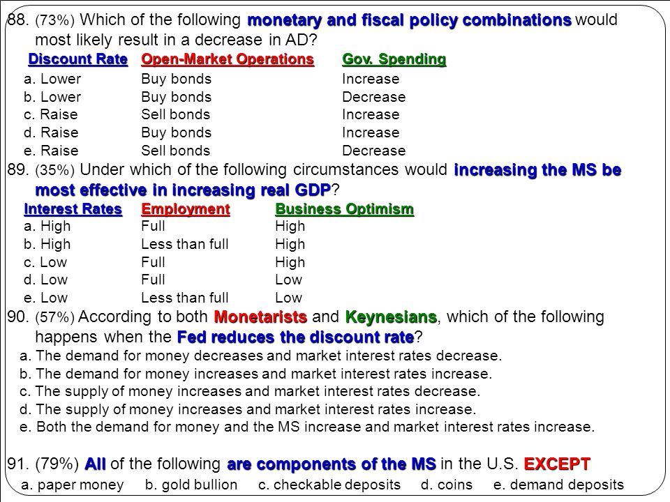monetary and fiscal policy combinations 88. (73%) Which of the following monetary and fiscal policy combinations would most likely result in a decreas