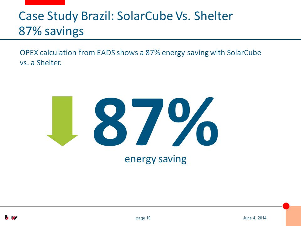 page 10 OPEX calculation from EADS shows a 87% energy saving with SolarCube vs.