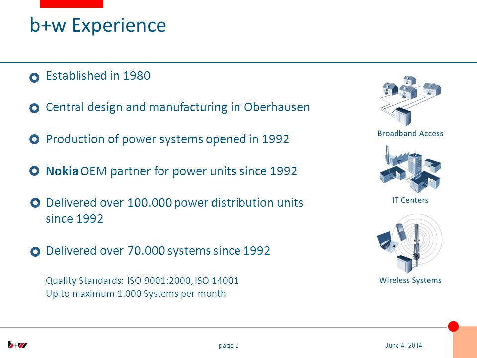 page 3 Established in 1980 Central design and manufacturing in Oberhausen Production of power systems opened in 1992 Nokia OEM partner for power units since 1992 Delivered over 100.000 power distribution units since 1992 Delivered over 70.000 systems since 1992 Quality Standards: ISO 9001:2000, ISO 14001 Up to maximum 1.000 Systems per month June 4, 2014 b+w Experience