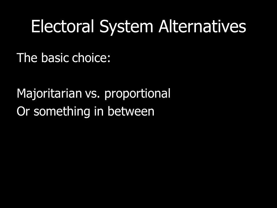 Electoral System Alternatives The basic choice: Majoritarian vs.