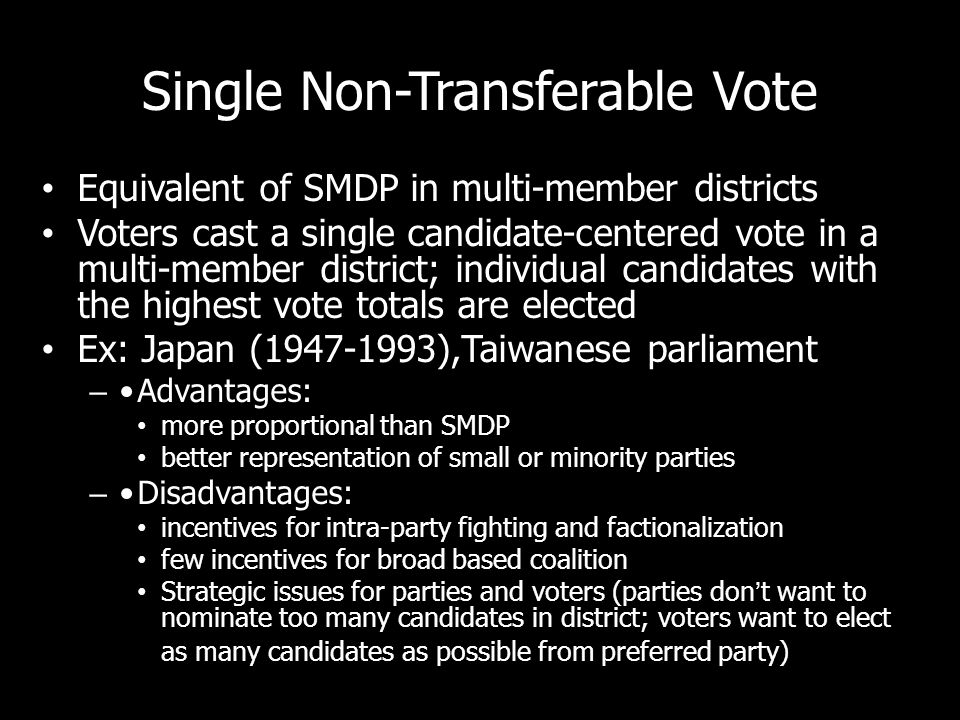 Single Non-Transferable Vote Equivalent of SMDP in multi-member districts Voters cast a single candidate-centered vote in a multi-member district; ind