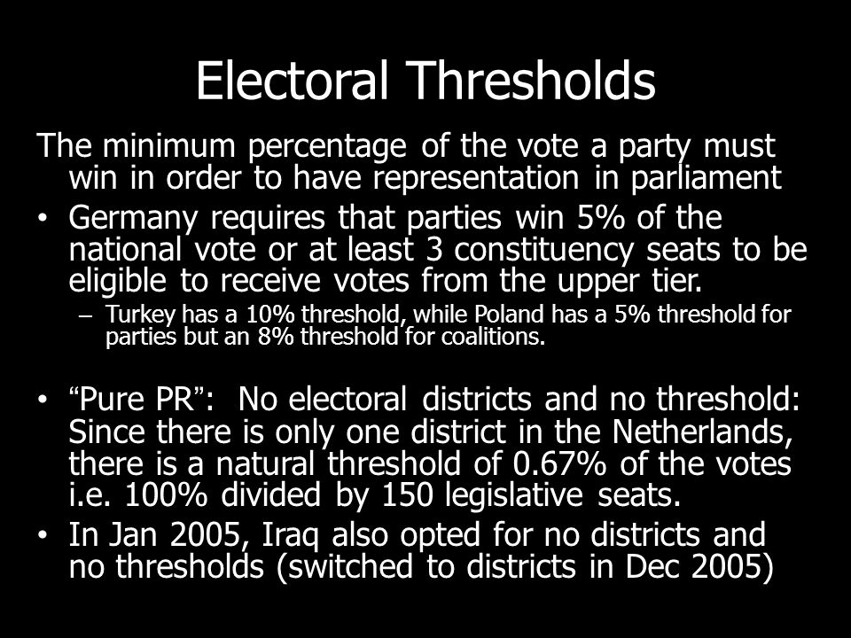 Electoral Thresholds The minimum percentage of the vote a party must win in order to have representation in parliament Germany requires that parties win 5% of the national vote or at least 3 constituency seats to be eligible to receive votes from the upper tier.
