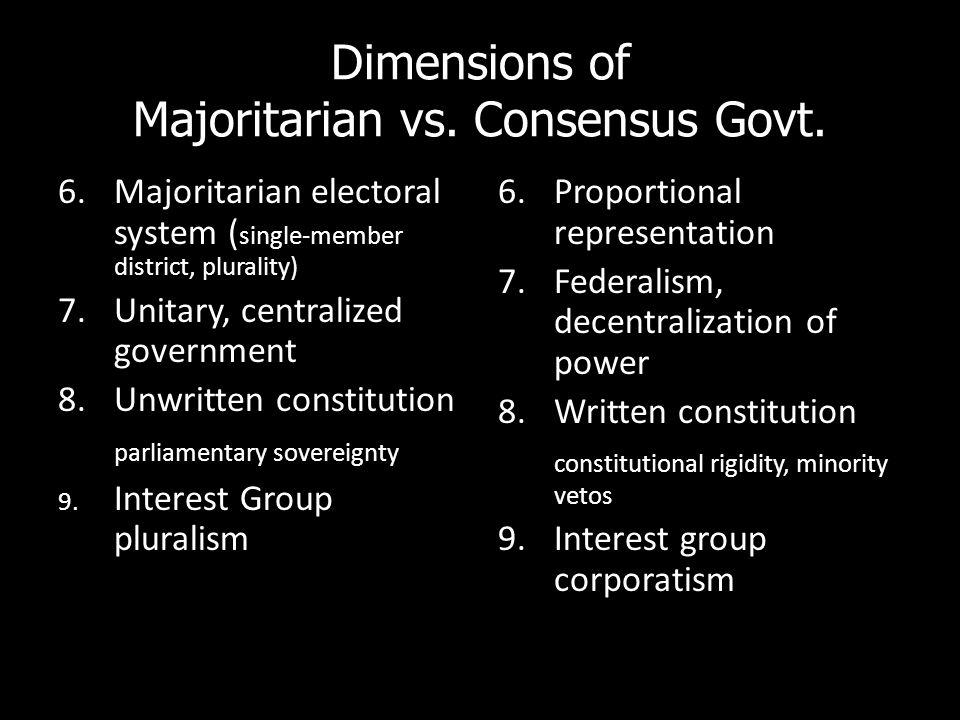 Dimensions of Majoritarian vs. Consensus Govt. 6.Majoritarian electoral system ( single-member district, plurality) 7.Unitary, centralized government