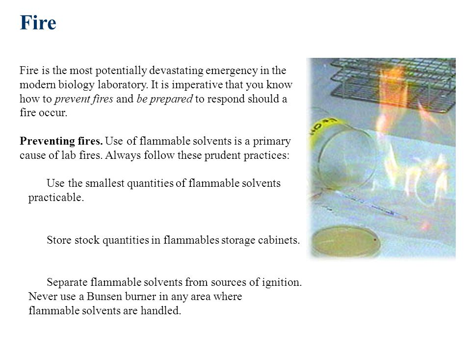 Fire Fire is the most potentially devastating emergency in the modern biology laboratory.