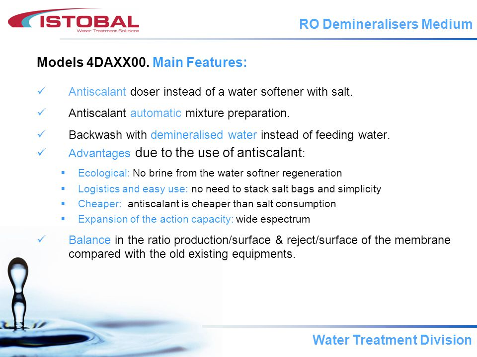 Water Treatment Division Difference between antiscalant and water softener.