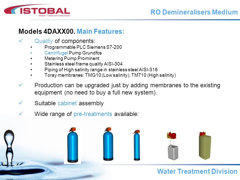 Water Treatment Division Models 4DAXX00.