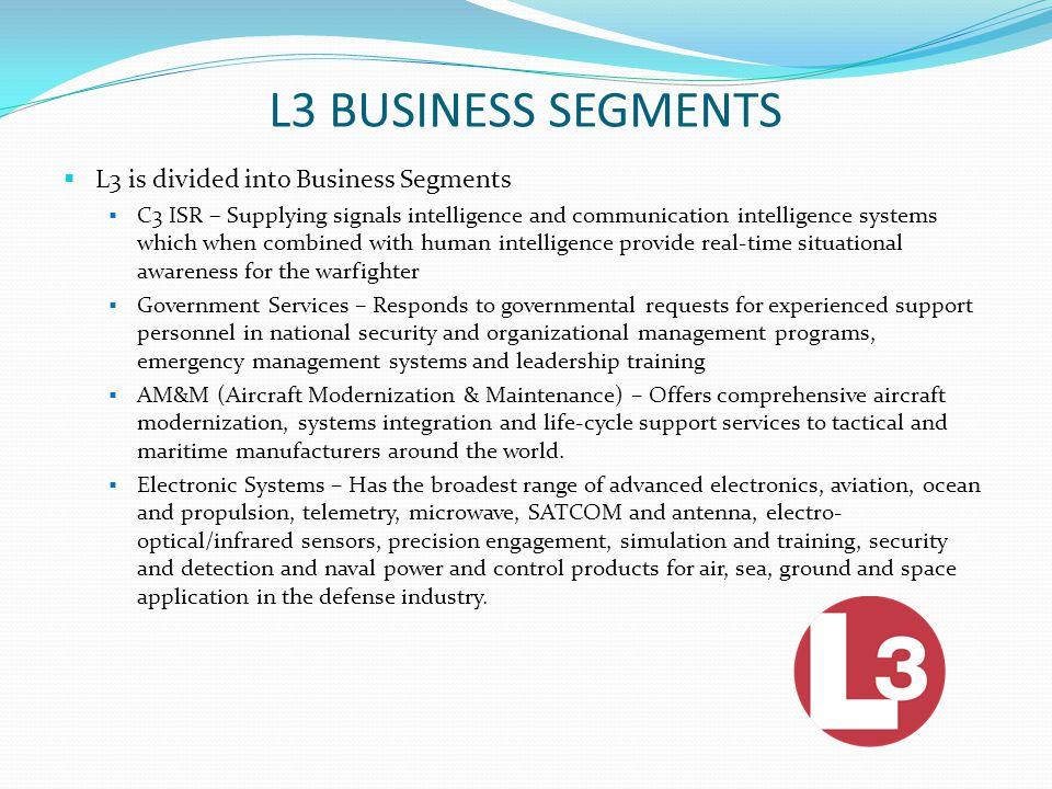 L3 CUSTOMERS Customers include: U.S.Dept. of Defense U.