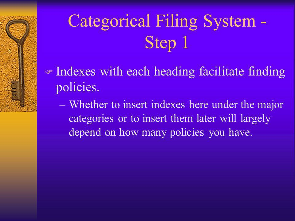 Categorical Filing System - Step 1 F Indexes with each heading facilitate finding policies.